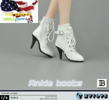"1/6 women white ankle boots for phicen verycool hot toys 12"" female figure ❶USA❶"