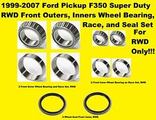 1999-2007 Ford Pickup F350 Super Duty RWD Front Inners, Outers Wheel Bearing Rac