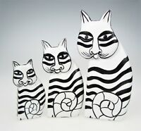3 Cats Black White Wood Cat Kitten Family Baby Feline Stripe Painted Wood