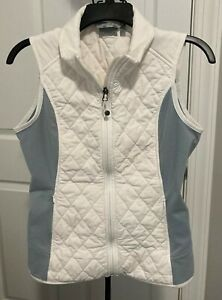 ATHLETA VEST WOMEN'S SIZE S FULL ZIP FRONT WITH POCKETS QUILTED WHITE/GRAY
