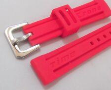 cinturino cronotime mod. panerai silicone rosso fibbia acciaio lucido ansa 18 mm