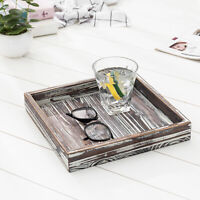 MyGift 10 inch Torched Wood Square Decorative Tray Ottoman Coffee Table Accent