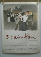 AFFICHE ORIGINALE ANCIENNE RETROSPECTIVE STEINLEN PARIS 1960