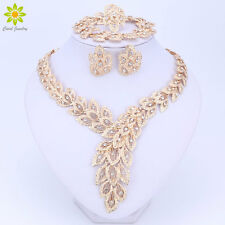 Jewelry Sets For Women Crystal Necklace Set African Beads Earrings Gold Plated