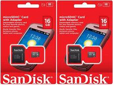 SanDisk Lot of 2x 16GB = 32GB Class 4 micro SD SDHC microSD HC Memory Flash Card