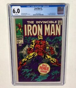 IRON MAN #1 CGC 6.0 KEY! WHITE pages! (1st issue of series!) 1968 Marvel Comics