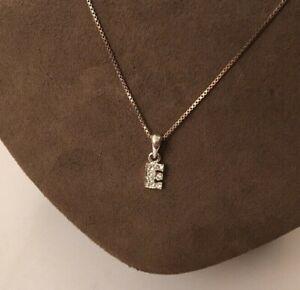 "Vtg 26"" Sterling Silver Box Link Chain Rhinestone Letter E Pendant Necklace"