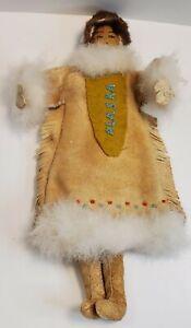 Charming Vintage Hand Made Alaska Native Eskimo Doll made of Fur, leather, Felt