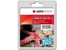 AGFA PHOTO CANON 4-set CLI-521 C Y M + PGI-520 per PIXMA IP 4600 3600 MP550