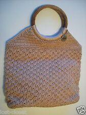 The Sak Pink Rose Crochet Hobo Purse Handbag Shoulder Shopper Tote Bag Clutch