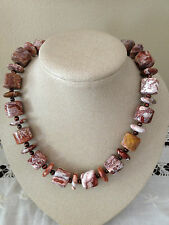 Mexican crazy lace agate beads, freshwater pearls and sterling silver necklace