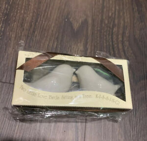 Original Love Birds Salt & Pepper Shaker Set Kate Aspen Sitting In Tree Kissing