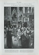 1901 PRINT ANCIENT CEREMONY MAUNDY MONEY WESTMINSTER ABBEY BY LORD HIGH ALMONER