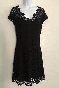 Chetta B Lace Crochet Sheath Dress Fully Lined Black Size 10/P EUC