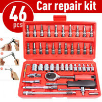 "46Pcs Socket Wrench Set 1/4"" Drive Ratchet Metric Garage Car Repair Tool Kit NEW"