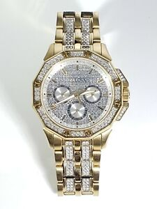 Bulova Men's Watch 98C126 Swarovski Crystal Gold Tone Stainless Steel Pave Dial