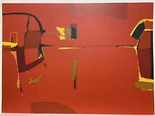 """Luis Hernandez Cruz, Abstracto, Rojo Red, Puerto Rico Art 22"""" x 30"""" 1969, Signed"""