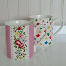 More details for pair of cath kidston mugs star/floral (small size 8.5cm) - free p&p included