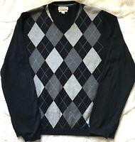 Banana Republic Men's Cotton Cashmere Navy Argyle Pullover V-Neck Sweater Large