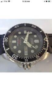 Citizen Diver Mens Watch Day & Date Automatic Black Dial Silicone Bracelet