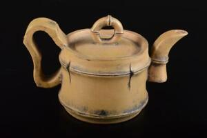 P8634: Chinese Unglazed earthenware Bamboo joint sculpture TEAPOT Kyusu Sencha