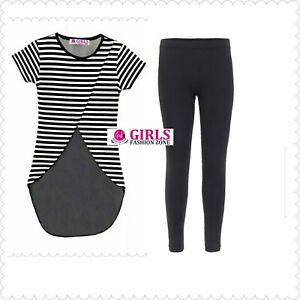 Girls Black/White Stripe Top with Plain Black Legging Outfit Set