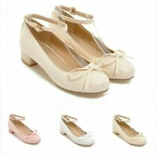 Sweet Ladies Bowknots Ankle Strap Round Toe Low Heel Lolita Mary Janes Shoes B