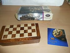 """A NEW Wooden (Box has Been Opened) Magnetic Travel Chess Set - 7"""" x 3 1/2"""""""