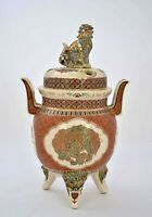 Meiji Japanese Gosu Satsuma Censer Incense Burner Koro Fu Dog Shishi - AS IS