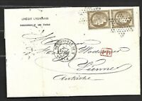 FRANCE Sc 62  PAIR ON COVER PMKD  P.D IN RED TO  AUSTRIA  FVF