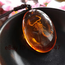 Orange Natural Amber Scorpion Pendant Necklace Charm Jewelry Lucky Amulet Top