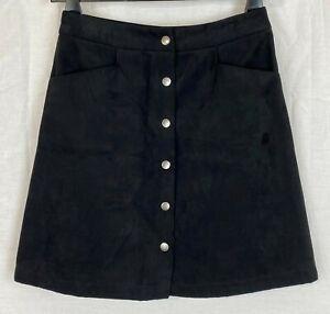 OASIS Womens Black Velvet A-Line Skirt Size 8