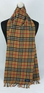 BURBERRY SCARF 100% LAMBSWOOL LONG FOR MEN AND WOMEN MADE IN ENGLAND BEIGE