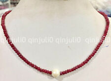 Natural 11-12mm White Freshwater Pearl & 2x4mm Red Ruby Faceted abacus Necklace
