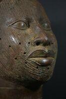 Life size IFE bronze African ONI King head - Nigeria Benin, TRIBAL ART PRIMITIF