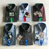 English Laundry Men's Regular Fit Dress Shirt, Blue Textured Variety