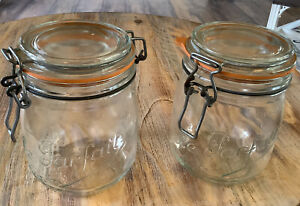 Vintage Mason Jar By Le Parfait Super Wire Bail Lot Of 2 Made In France .75 L