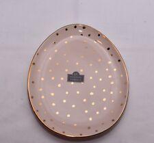 New Ornate Pink & Gold Color Polka Dot Egg Shape Tidbit Spoon Rest Plate