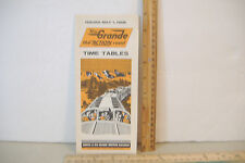 RIO GRANDE RAILROAD~PASSENGER TRAIN TIME TABLES~ISSUED MAY 1, 1968