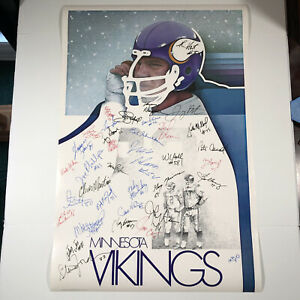 "Minnesota Vikings Poster VTG 1974 Autographed By Players Unknown Years 36""x24"""