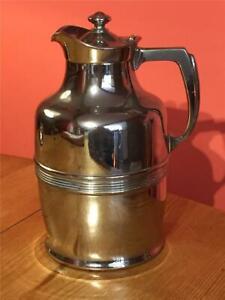 Vintage American Genuine Thermos No 42 Carafe Metal Flask Art Deco Design 21cm
