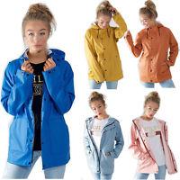Womens PU Festival Lightweight Jacket Waterproof Ladies Rain Mac Coat Raincoat