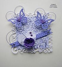 3D  HEART & BUTTERFLIES with WIRE  CARD CRAFT TOPPER  GEN 28-2 Lilac