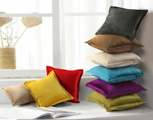 """Plain Dutch Velvet Decorative Cushion Covers Only or With Inner 18x18"""" Sofa Bed"""