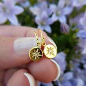 14ct Gold Plated Starburst Disc Drop Earrings, Women's Ladies Dangle, Vermeil