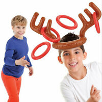 Christmas Inflatable Reindeer Antler Ring Toss Game Xmas Family Fun Party Toys