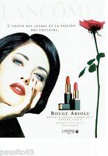 PUBLICITE ADVERTISING 106  1996  le rouge à lèvres Rouge Absolu Lancome C. Reali