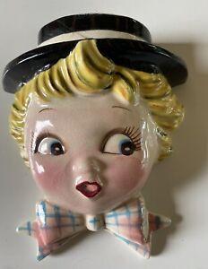 Vintage Lefton Mr. Cutie Pie Boy Wall Pocket Japan REPAIRED
