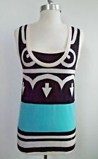 CHANEL 100% cashmere print tank sweater top size 38