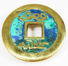 1958 Pepe Mendoza Brass Turquoise Stone Inlay Round Sculptural Drawer Pull